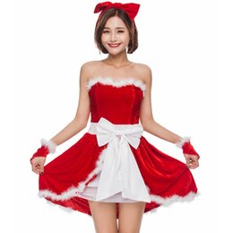 glove sleeveless UK - Wholesale Red Christmas costumes sleeveless Christmas gifts Christmas party girl role-playing uniform dress headwear dress gloves