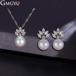 $enCountryForm.capitalKeyWord Australia - GMGYQ Brand New Pearl Jewelry Sets For Women Fashion Jewelry Necklace And Earrings Crystal Set Of Zircon