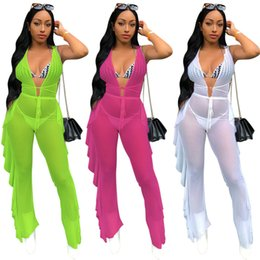 sexy party jumpsuit women UK - See Through Mesh Sexy Nightclub Bar Jumpsuits Hottest Ruffles Deep V Neck Sleeveless Backless Full Length Women Party Jumpsuits Rompers