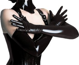 long black leather gloves NZ - Adult Sexy Long Latex Gloves Black Ladies Hip-pop Fetish Faux Leather Gloves Clubwear Sexy Catsuit Cosplay Costumes Accessory
