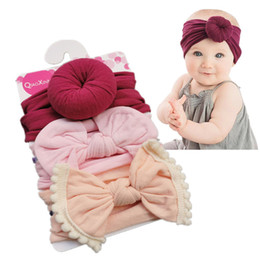 elastic hair combs Australia - Free DHL Baby Girls Knot Ball Donut Headbands Bow Turban 3pcs set Infant Elastic Hairbands New Children Knot Headwear kids Hair Accessories