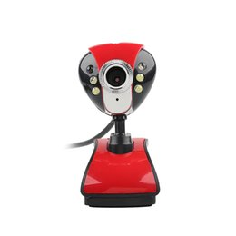 Webcam Videos UK - 1pcs USB2.0 1.1 HD 50Mega 360 Degrees Rotary Camera Video 6 LED Night Vision Microphone Webcam Camera Web Cam For PC Laptop