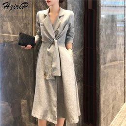 $enCountryForm.capitalKeyWord Australia - HziriP 2018 New Stylish Autumn Women Turn-down Collars Coat Long Sleeves Elegant Fashion Texture Slim Solid Belt