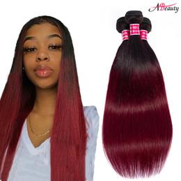 burgundy ombre hair bundles 2019 - Two Tone Ombre Human Hair 1b 99j Burgundy Straight Hair Bundles 3 Bundles lot Ombre Brazilian Straight Virgin Hair Exten