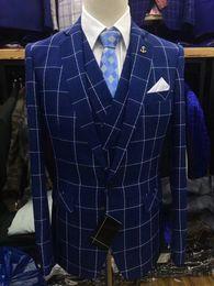 $enCountryForm.capitalKeyWord Australia - 2019 Custom Slim Fit Wedding Suits For Men Classic Plaid Tuxedos Groom Formal Party Dinner Prom Blazer 3 Piece Costume Homme