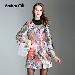 floral trench coat women Australia - Vintage floral Winter beading Outwears woman O-neck 3 4 sleeve high quality elegant lady plus size casual trench coat M-4XL