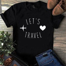 plane t shirts UK - Plus Size Short-sleeve Tshirt Lets Travel Plane Funny T Shirts Ulzzang Camiseta Mujer Fashion Tee Tops Black White Top Drop Ship