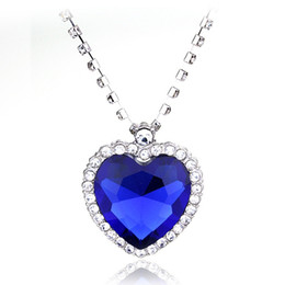 Discount pendant titanic - Titanic Ocean Heart Necklace With Full Rhinestone Claw Chains Sapphire Dark Blue Crystal Heart Pendant Necklace Woman Je