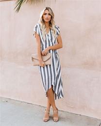 Dresses Apparel NZ - Striped Print Womens Summer Designer Midi Dresses Asymmertical Mid Calf Fashion Feamle Clothing Beach Style Casual Apparel