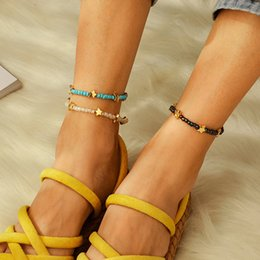 Star legS online shopping - Bohemian Blue White Beads Chain Anklets For Women Gold Color Star Ankle Bracelet on The Leg Fashion Foot Jewelry Beach Jewelry