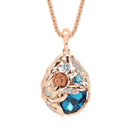 costume jewelry pendant necklaces UK - Women Designer Pendant Necklace Luxury Jewelry Trendy Water Drop Crystal Costume with Rhinestones for Gift JSXL073