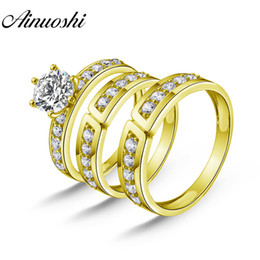 14k Wedding Band Set Australia - AINUOSHI Real Gold TRIO Rings Vintage Half Eternity Band Engagement Wedding Ring Jewelry 14K Solid Yellow Gold Couple Ring Set
