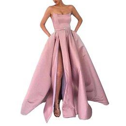 Ingrosso 2019 robe de soiree Borgogna Prom Dress con tasche spacco laterale senza spalline in raso abiti da sera eleganti abiti da donna lungo abito formale
