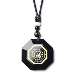 bagua necklace UK - 100% Natural Black Obsidian Chinese Carved Bagua Lucky Face Pendant