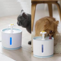 water fountains indoor plastic Australia - LED Blue Light Electric Automatic Pet Dog Cat Drinking Fountain Pet Bowl Drinking Water Dispenser Drink Filter Drop ship
