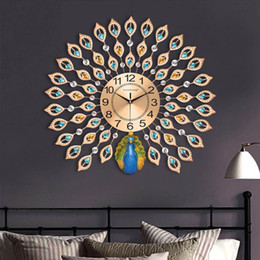 arts crafts clocks Australia - Modern Luxury 3D Diamond Crystal Quartz Peacock Wall Clocks for Home Living Room Decor Large Silent Wall Clock Art Crafts