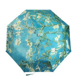 $enCountryForm.capitalKeyWord UK - Diniwell Vincent Van Gogh Oil Painting Umbrella Starry Night Three Folding Umbrella Wind Resistant Frame For Women Drop Shipping T8190619