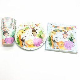 Plates set disPosable online shopping - 60pcs safari theme disposable tableware set safari theme disposable plates cups napkins birthday party decorations