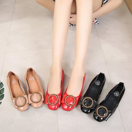 Chinese  Fairy2019 Genuine Autumn Leather Circle Head Flat Comfortable Soft Bottom Single Square Buckle Will Drive A Car Shoes manufacturers