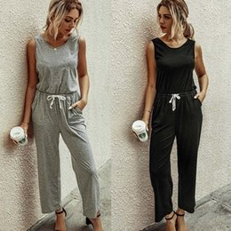 Wholesale sexy pants wide leg jumpsuit resale online – Lady Solid Rompers Round Neck Vest Jumpsuits Women Casual Straight Sexy Long Wide Leg Pants Playsuits Pockets Maternity Lounge M1734