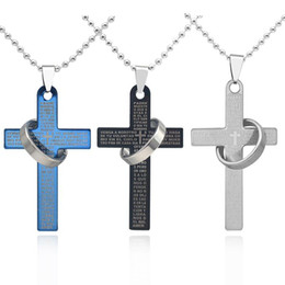 $enCountryForm.capitalKeyWord Australia - 316L stainless steel Cross Ring pendant Necklaces Men's Religious Scripture crucifix Charm beaded chain For women Fashion Jewelry Gift