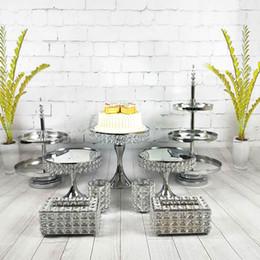 Cupcake Birthday Australia - 9pcs set Gold Silver Dessert Tray Cupcake Display Home Decoration Wedding Birthday Crystal Mirror Cake Stand