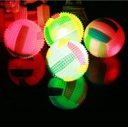 Wholesale Lighting Toys Australia - Light Toys 1pcs Led Plastic Random Color Volleyball Flashing Light Up Changing Bouncing Hedgehog Ball Fun For Kid