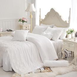$enCountryForm.capitalKeyWord Australia - Tencel cotton Korean Princess lace 3 4pcs bedding sets, duvet cover bed skirt pillowcase set girl kids white bedsheet