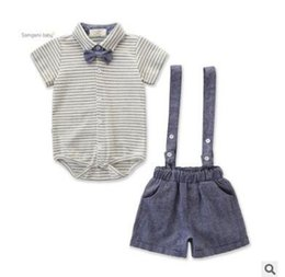 Discount kids summer christmas clothes - Kids Baby Boys Outfits Clothes Set 2019 Summer Short Sleeve Striped Bodysuit Tops+Adjustable Suspender Shorts Clothing T