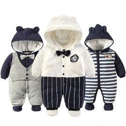 jumpsuits rompers for babies Australia - 2019 Newborn Rompers Winter cotton Thick Warm Baby boy girl Clothes baby Long Sleeve Hooded Jumpsuit Kids Outwear for 0-24MMX190912