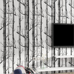 wallpapers for rooms Australia - Black White Birch Tree Wallpaper for Bedroom Modern Design Living Room Wall Paper Roll Rustic Forest Woods Wallpapers Pearly
