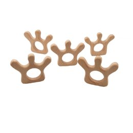 $enCountryForm.capitalKeyWord Australia - 4pcs Natural Wood An crown Teether Cartoon Animal Shape Wooden Baby Teether Toy Safe Newborn Kids Teething Toys Baby Shower Gift
