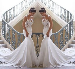 Wholesale 2019 Spaghetti Straps Lace Mermaid Beach Wedding Dresses Satin Lace Applique Sweep Train Boho Wedding Bridal Gowns robes de mariée BC0190