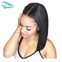 Short Bob Lace Front Human Hair Wigs For Black Women Pre Plucked Bob Straight Virgin Brazilian Hair Natural Hairline Full Lace Wig Bythair