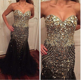$enCountryForm.capitalKeyWord UK - Real Buyer Show Bling Bling Rhinestone Pageant Party Prom Dresses Black Sweetheart Special Occasion Gown Fully Beaded Dress Evening Wear 174