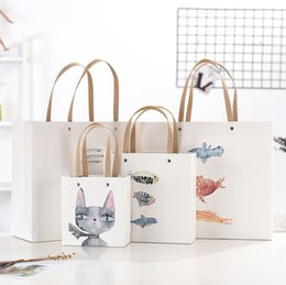 Little Hand Bags Wholesale Australia - 2019 New Cartoon Cat, Little Fish hand-painted cartoon exquisite packing holiday gift bag Children's Day gift bag