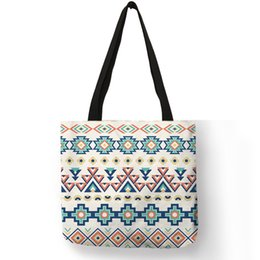 Casual Carry Bags Australia - Sac A Main Femme Bolsa Pretty Geometry Pattern Linen Cloth Sack Women Men Daily Casual Folding Tote Bag Outdoor Carry Tote Bags