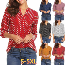Army blouse online shopping - Large size Women s Blouse spring new print small dot V neck long sleeved sleeves Shirt fashion casual loose ladies Blouse