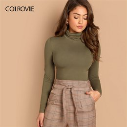 sexy army shirts Canada - COLROVIE Army Green Solid Slim Fitted Casual High Neck Top For Women 2019 Spring Long Sleeve Basic Shirt Sexy Office Ladies Tops