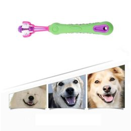 home care products Australia - Creative Solid Home Pet Cleaning Tool Three Sided Pet Cleaning Brush Dog ToothBrush Teeth Care Dog Cat Keep Mouth Clean Health