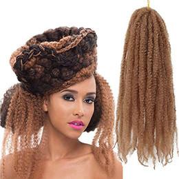 "kinky braids marley 2019 - Afro Kinky Marley Braids Hair Extensions 18"" Synthetic Afro Kinky Twist Crochet Braiding Hair Mixed Color Bulk Twis"