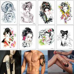 $enCountryForm.capitalKeyWord Australia - Colored Drawing Geisha Painting Tattoo Sticker Beauty Woman Ancient Costume Girl Design for Unisex Body Makeup Arm Temporary Tattoo Transfer