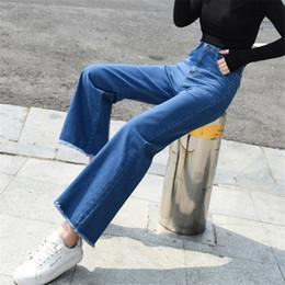 $enCountryForm.capitalKeyWord NZ - Boot Cut Jeans For Women High Waist Elastic Tassel Denim Pants Wide Leg Straight Long Femme Trousers Female Boyfriend Jeans Y19042901