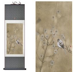chinese flower decorations Canada - China paintingBirds And Flower Painting Home Office Decoration Chinese Scroll Painting Flower