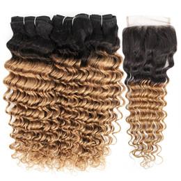 22 inch deep wave closure online shopping - Kisshair B Ombre Honey Blonde with Closure Deep Wave Human Hair Weave Bundles with Lace Closure Brazilian Virgin Hair
