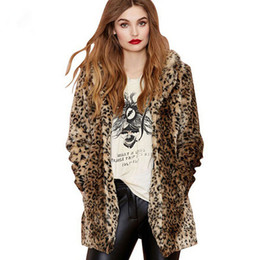 Chinese  Hot sale new women faux rabbit fur suit turn-down collar coats Personality luxurious sexy leopard long section overcoats jacket manufacturers