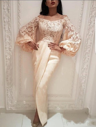 Front Art Australia - 2019 Champagne Long Sleeves Arabic Prom Dresses Scoop Mermaid Split Front Lace Top Plus Size Evening Gowns BC2021