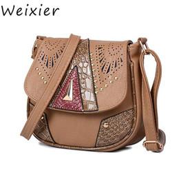 c50f7fac4481 WEIXIER Women Messenger Bags Vintage Shoulder Bag PU Leather Hollow Out  Rivet Ladies Crossbody Bag Handbag For Women LY-57