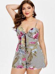 9e315d007b Plus size jumPsuits Playsuits online shopping - Wipalo Women Plus Size  Floral Striped Romper Tie Front