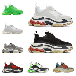 China Free DHL triple s fashion designer luxury shoes for men women clear sole neon green black white grey mens trainers platform sneakers cheap neon round suppliers